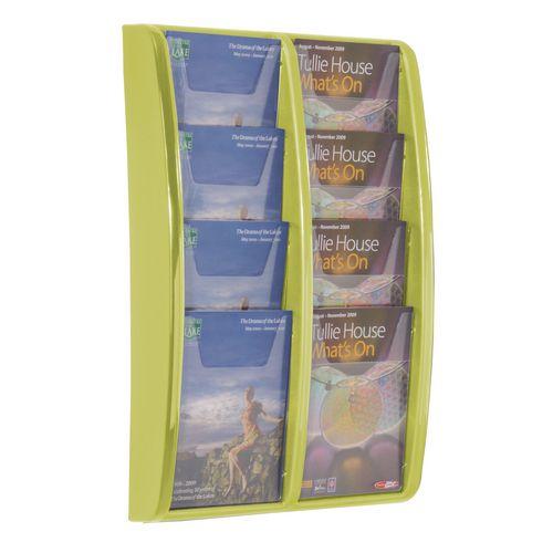 Leaflet Dispenser Wall Mounted8Xa5 Pockets Lime