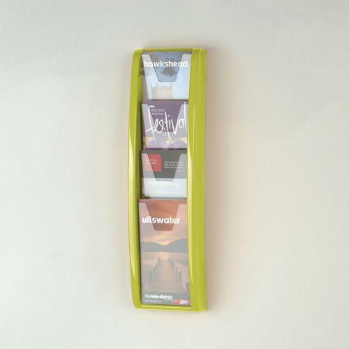 Leaflet Dispenser Wall Mounted 4 DL Size Pockets Lime