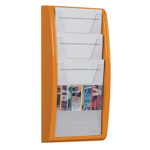Leaflet Dispenser Wall Mounted3Xa4 Pockets Orange
