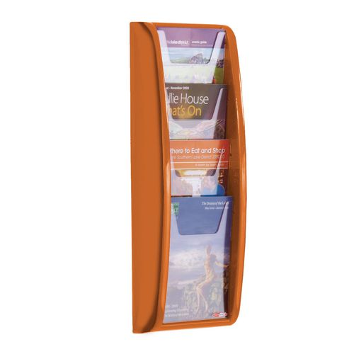 Leaflet Dispenser Wall Mounted4Xa5 Pockets Orange