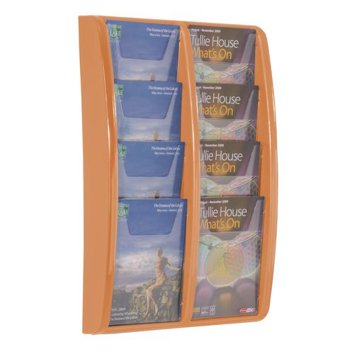 Leaflet Dispenser Wall Mounted8Xa5 Pockets Orange