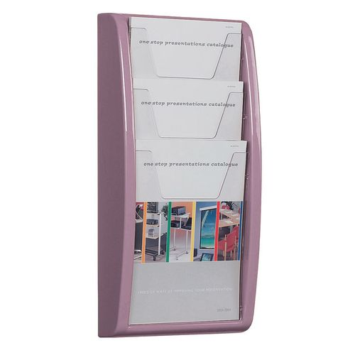 Leaflet Dispenser Wall Mounted3Xa4 Pockets Lilac