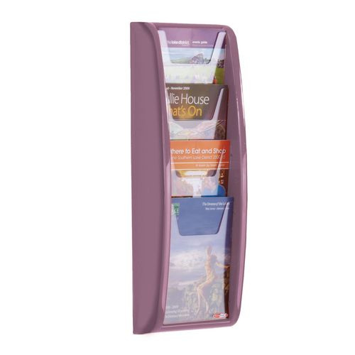 Leaflet Dispenser Wall Mounted4Xa5 Pockets Lilac