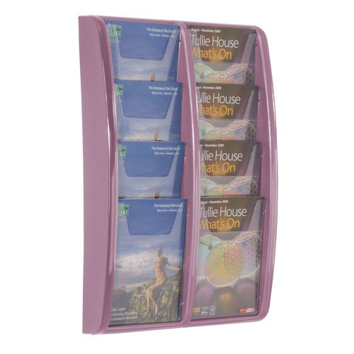 Leaflet Dispenser Wall Mounted8Xa5 Pockets Lilac