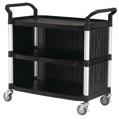 Large 3 Shelf Service Cart With Panels On 3 Sides