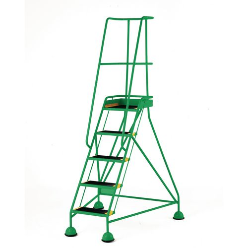 Classic Colour Bs Range Spring Loaded Mobile 5 Tread Step Designed To Conform To Bs En-131 Part 7 Rubber Tread Green
