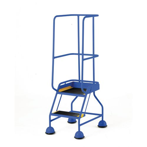 Classic Colour Bs Range Spring Loaded Mobile 2 Tread Step Designed To Conform To Bs En-131 Part 7 Rubber Tread Blue