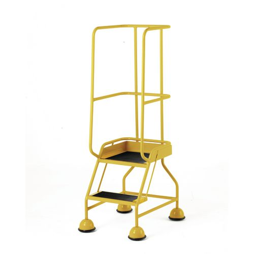 Classic Colour Bs Range Spring Loaded Mobile 2 Tread Step Designed To Conform To Bs En-131 Part 7 Rubber Tread Yellow