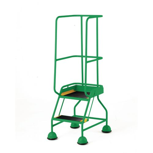 Classic Colour Bs Range Spring Loaded Mobile 2 Tread Step Designed To Conform To Bs En-131 Part 7 Anti-Slip Tread Green