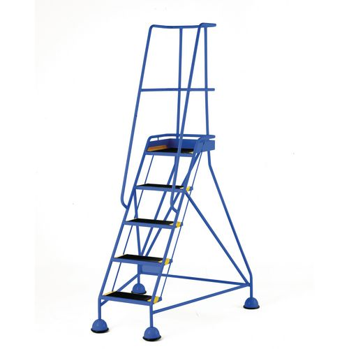 Classic Colour Bs Range Spring Loaded Mobile 5 Tread Step Designed To Conform To Bs En-131 Part 7 Anti-Slip Tread Blue