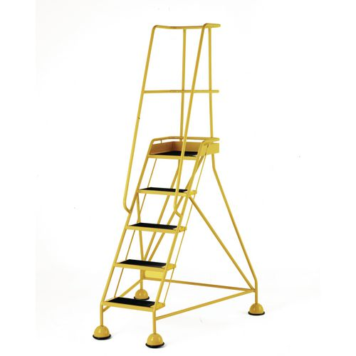 Classic Colour Bs Range Spring Loaded Mobile 5 Tread Step Designed To Conform To Bs En-131 Part 7 Anti-Slip Tread Yellow