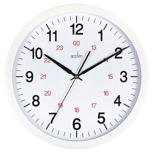 Metro 355mm White + Red 24Hr Track Wall Clock