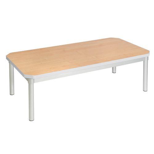 Enviro Rectangular Coffee Table Silver Anodised Frame Beech Top Light Grey Edge