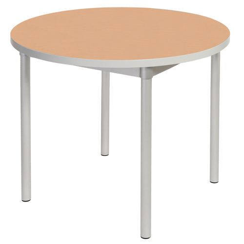 Enviro Circular Canteen Table Dia900xH710mm Beech - Lightweight, Strong &Robust. Aluminium Frame with Wipe Clean Laminate Surface