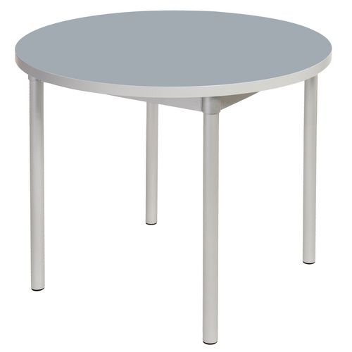 Enviro Circular Canteen Table Dia900xH710mm Storm Grey - Lightweight, Strong &Robust. Aluminium Frame with Wipe Clean Laminate Surface
