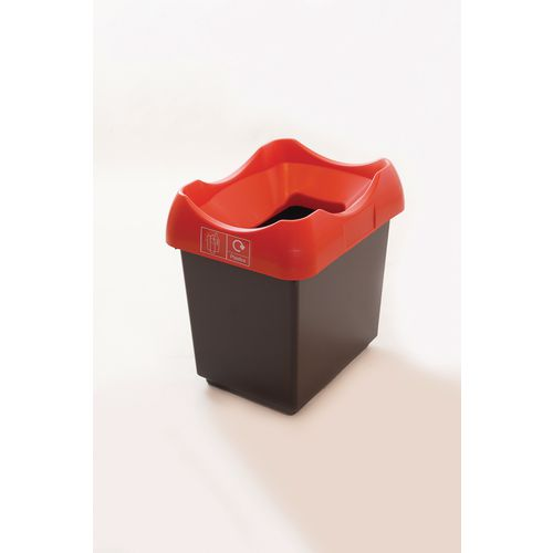 30 Litre Recycling Bin With Grey Body Red Lid &Graphic