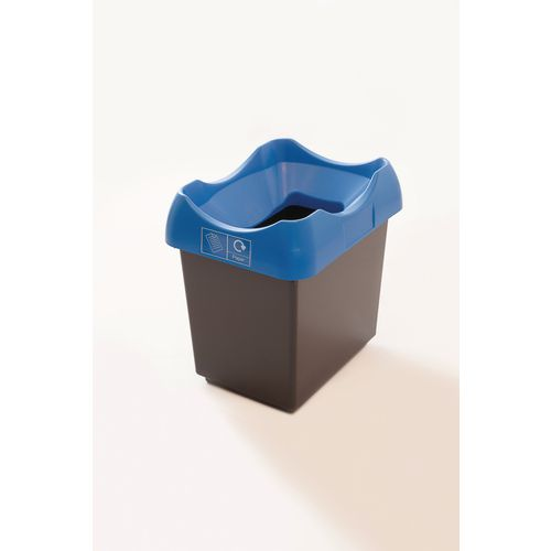 30 Litre Recycling Bin With Grey Body Blue Lid &Graphic