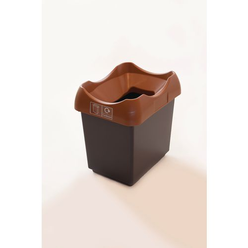 30 Litre Recycling Bin With Grey Body Brown Lid &Graphic