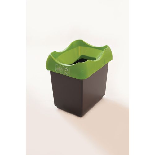 30 Litre Recycling Bin With Grey Body Lime Lid &Graphic
