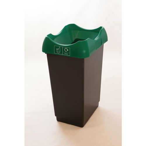 50 Litre Recycling Bin With Grey Body Green Lid &Graphic