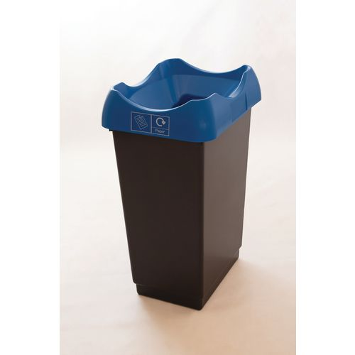 50 Litre Recycling Bin With Grey Body Blue Lid &Graphic