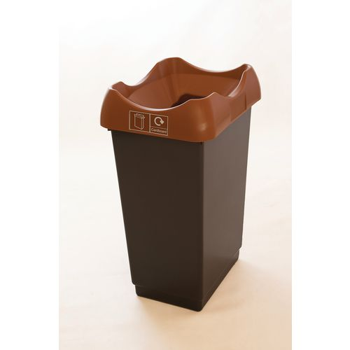 50 Litre Recycling Bin With Grey Body Brown Lid &Graphic