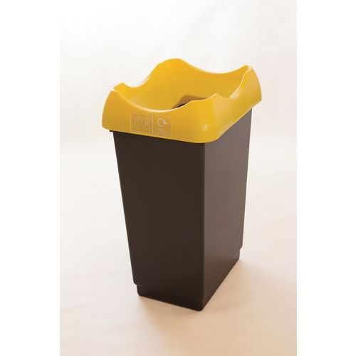 50 Litre Recycling Bin With Grey Body Ywllow Lid &Graphic