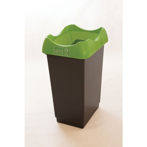 50 Litre Reycling Bin With Grey Body Lime Lid &Graphic