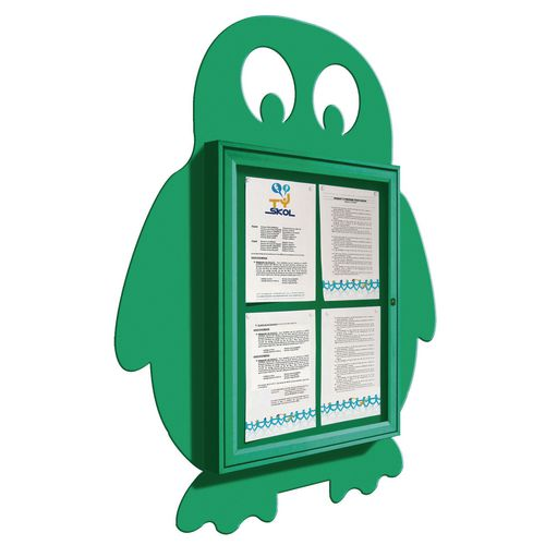 """School Fun"" Penguin Notice Board 4xA4 Notice Board External Dimensions: H 750x550mm Painted Green"