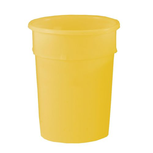 Cylindrical Food Grade Plastic Tapered Storage Container 114L Dia.590xH690mm Yellow - Heavy Duty, Nestable, Hygienic Easy Clean Seamless Design