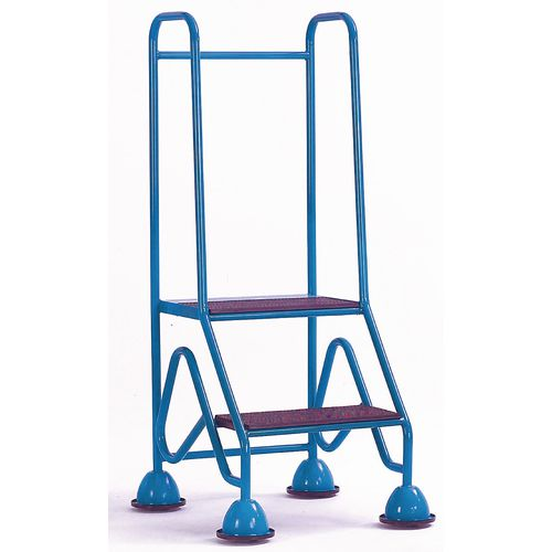 Domed Feet Mobile Steps 2 Step With Injection Moulded Treads Blue