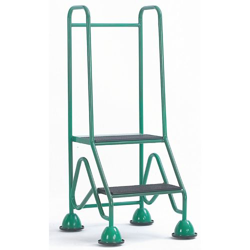 Domed Feet Mobile Steps 2 Step With Injection Moulded Treads Green