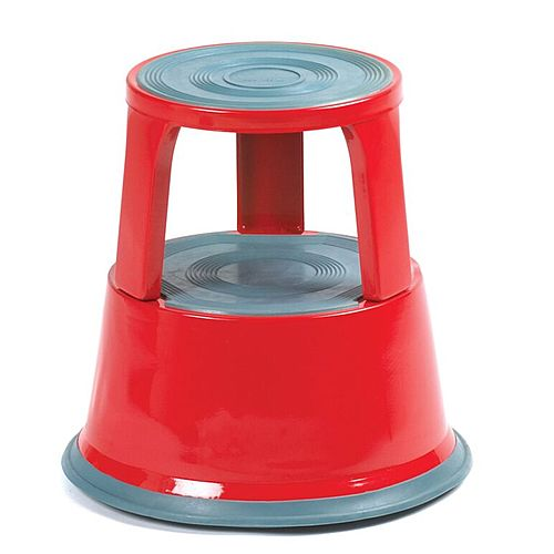 Steel Mobile Safety Step Stool Red