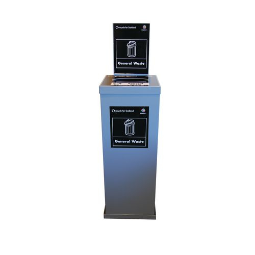 80Ltr Single Metal Grey Body Grey Lid Internal Recycling Bin