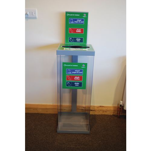 80Ltr Single Transparent Grey Lid Internal Recycling Bin