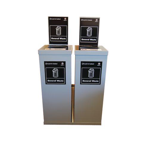 Two 80Ltr Single Metal Grey Body Grey Lid Internal Recycling Bins