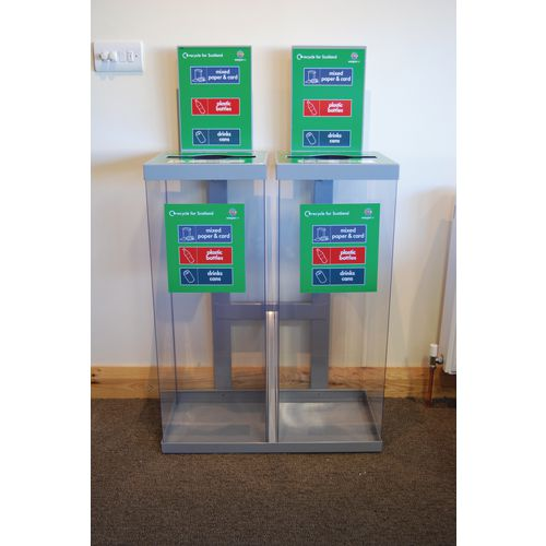 Two 80Ltr Single Transparent Grey Lid Internal Recycling Bins