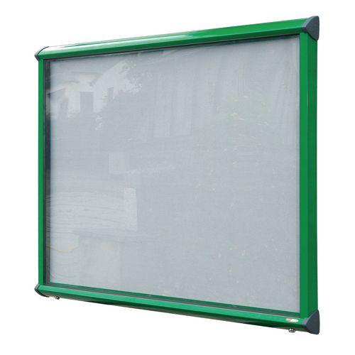 Shield External Lockable Outdoor Weather-proof IP55 Noticeboard Showcase - Green Frame - Shield Exterior Showcase 8xA4 Portrait - Light Grey