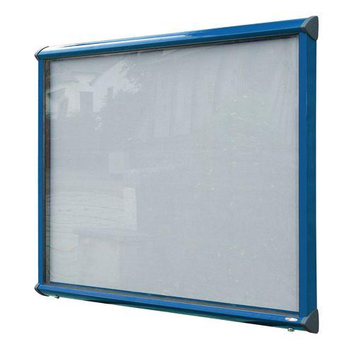 Shield External Lockable Outdoor Weather-proof IP55 Noticeboard Showcase - Blue Frame - Shield Exterior Showcase 12xA4 Portrait - Light Grey