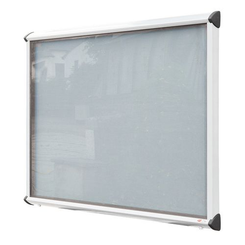 Shield External Lockable Outdoor Weather-proof IP55 Noticeboard Showcase - White Frame - Shield Exterior Showcase 12xA4 Portrait - Light Grey