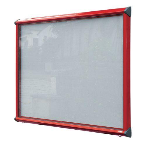 Shield External Lockable Outdoor Weather-proof IP55 Noticeboard Showcase - Red Frame - Shield Exterior Showcase 18xA4 Portrait - Light Grey