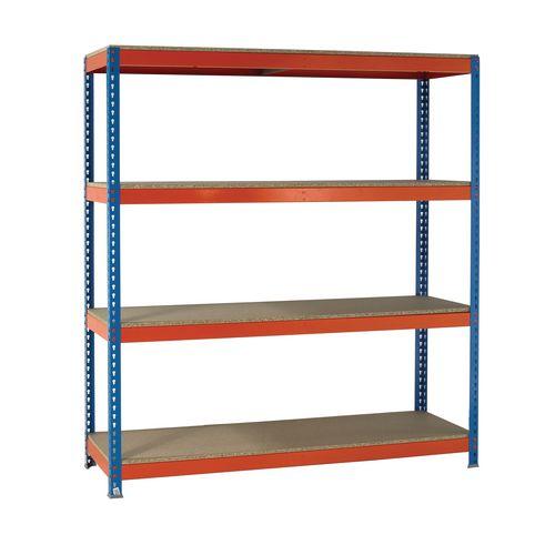 2.5m High Heavy Duty Boltless Chipboard Shelving Unit W2400xD1200mm 350kg Shelf Capacity With 4 Shelves - 5 Year Warranty
