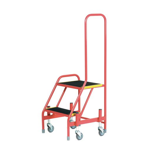 Mobile Step 2 Tread With One Handrail Red