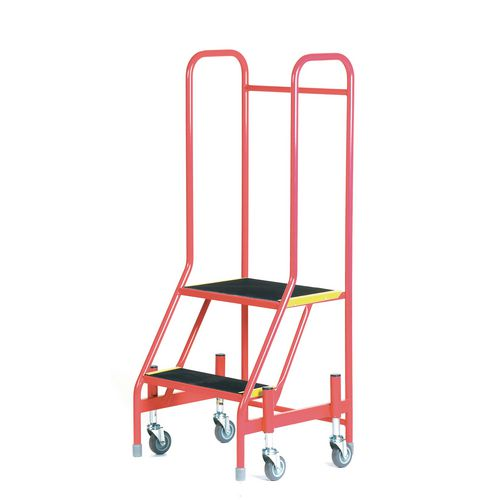 Mobile Step 2 Tread With Full Handrail Red