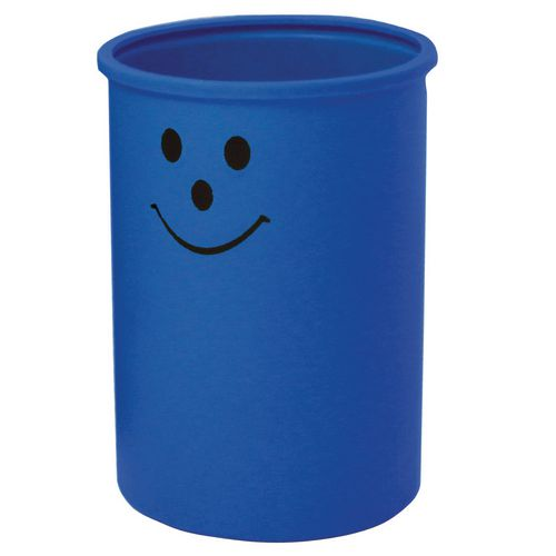 Lunar Blue Open Top Bin With Smiley Face Logo 95 Litre Capacity