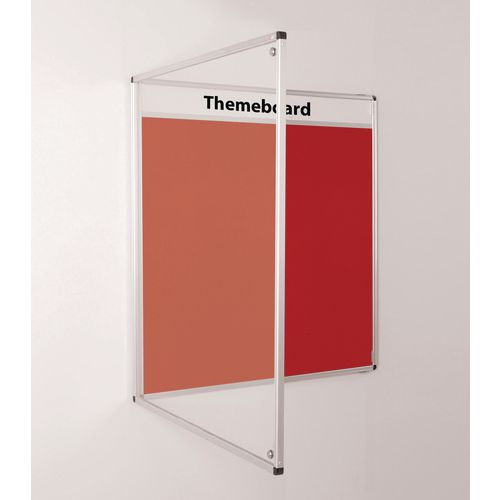 Themeboard Tamperproof Noticeboard  1200x2400mm (Hxw)  Red