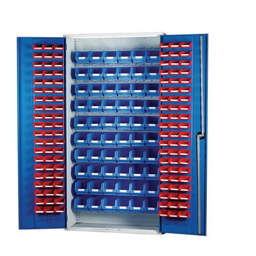 Louvred Panel Cabinet Cw 120xTc1 Red And 60xTc3 Blue
