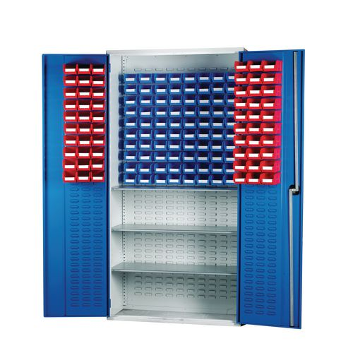 Louvred Panel Cabinet Cw 60xTc1 Red 80xTc2 Blue And 3 Shelves