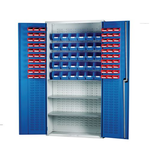 Louvred Panel Cabinet Cw 60xTc1 Red 30xTc3 Blue And 3 Shelves