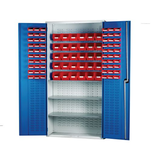 Louvred Panel Cabinet Cw 60xTc1 Red 30xTc3 Red And 3 Shelves